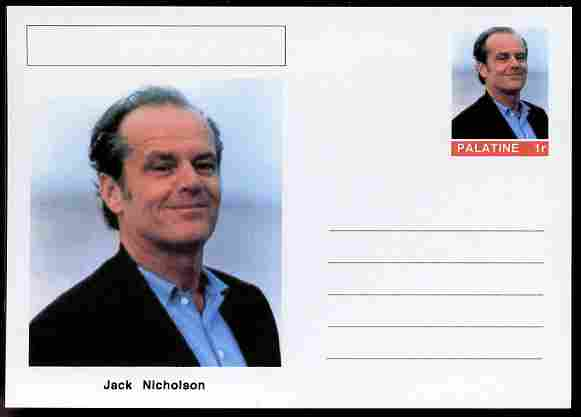 Palatine (Fantasy) Personalities - Jack Nicholson (comic actor) postal stationery card unused and fine