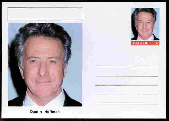 Palatine (Fantasy) Personalities - Dustin Hoffman (actor) postal stationery card unused and fine