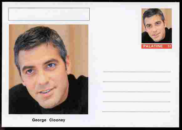 Palatine (Fantasy) Personalities - George Clooney (actor) postal stationery card unused and fine
