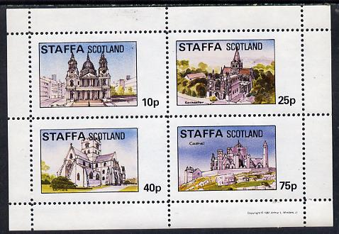 Staffa 1981 Cathedrals (St Pauls, Rochester, Carlisle & Cashel) perf  set of 4 values (10p to 75p) unmounted mint