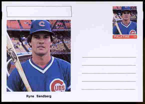 Palatine (Fantasy) Personalities - Ryne Sandberg (baseball) postal stationery card unused and fine