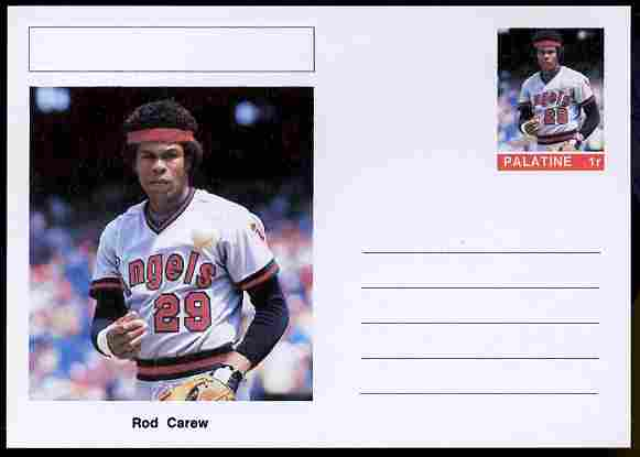 Palatine (Fantasy) Personalities - Rod Carew (baseball) postal stationery card unused and fine