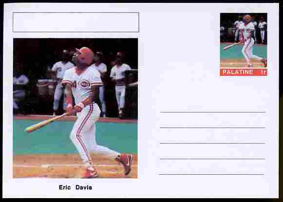 Palatine (Fantasy) Personalities - Eric Davis (baseball) postal stationery card unused and fine