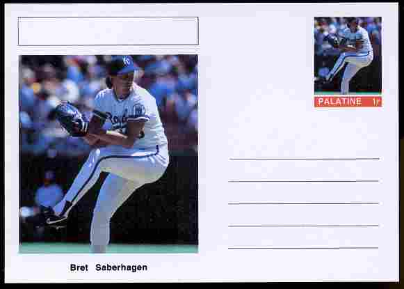 Palatine (Fantasy) Personalities - Bret Saberhagen (baseball) postal stationery card unused and fine