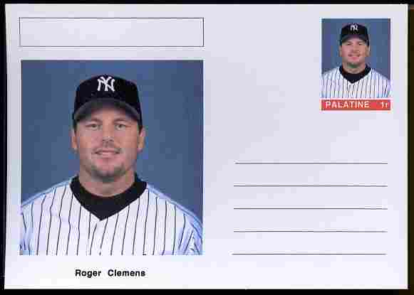 Palatine (Fantasy) Personalities - Roger Clemens (baseball) postal stationery card unused and fine