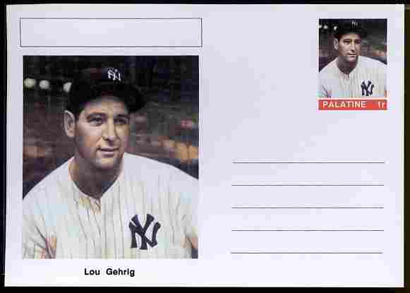 Palatine (Fantasy) Personalities - Lou Gehrig (baseball) postal stationery card unused and fine