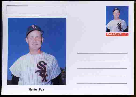 Palatine (Fantasy) Personalities - Nellie Fox (baseball) postal stationery card unused and fine