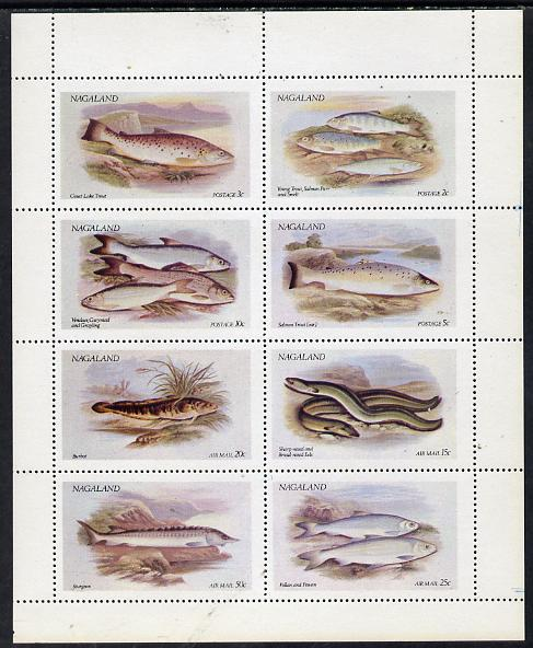 Nagaland 1972 Fish (Trout, Salmon, Sturgeon, Eels, etc) perf  set of 8 values unmounted mint (2ch to 50ch)