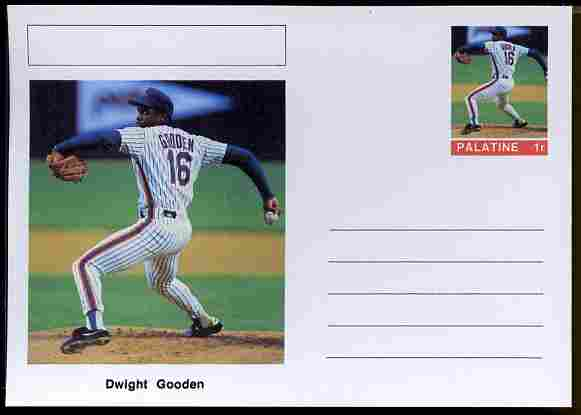 Palatine (Fantasy) Personalities - Dwight Gooden (baseball) postal stationery card unused and fine