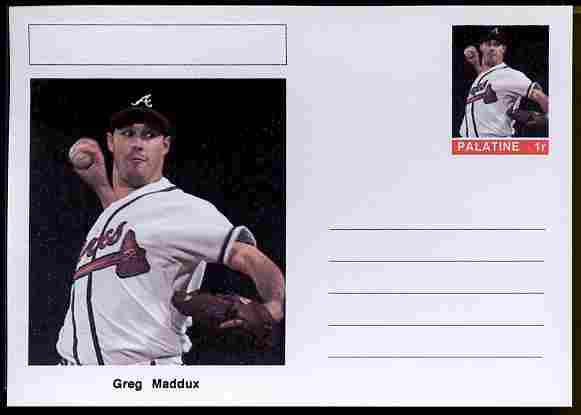 Palatine (Fantasy) Personalities - Greg Maddux (baseball) postal stationery card unused and fine