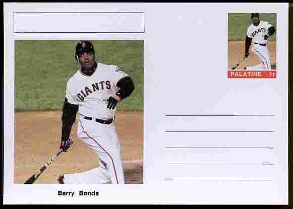 Palatine (Fantasy) Personalities - Barry Bonds (baseball) postal stationery card unused and fine, stamps on personalities, stamps on sport, stamps on baseball