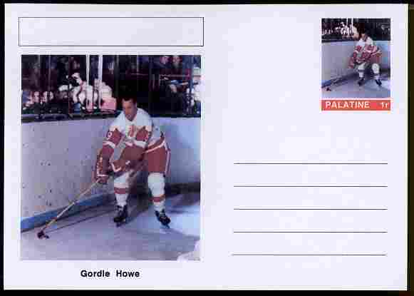 Palatine (Fantasy) Personalities - Gordie Howe (ice hockey) postal stationery card unused and fine
