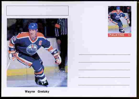 Palatine (Fantasy) Personalities - Wayne Gretzky (ice hockey) postal stationery card unused and fine