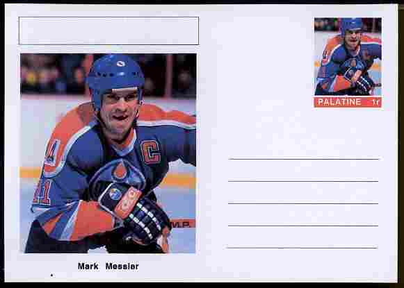 Palatine (Fantasy) Personalities - Mark Messier (ice hockey) postal stationery card unused and fine