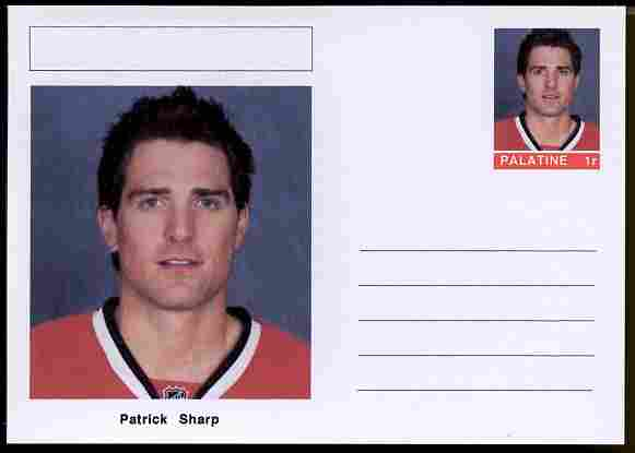 Palatine (Fantasy) Personalities - Patrick Sharp (ice hockey) postal stationery card unused and fine