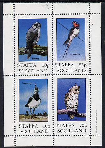 Staffa 1981 Birds #03 (Hobby, Swallow, Lapwing & Owl) perf  set of 4 values (10p to 75p) unmounted mint