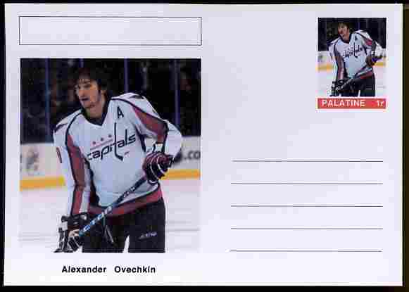 Palatine (Fantasy) Personalities - Alexander Ovechkin (ice hockey) postal stationery card unused and fine