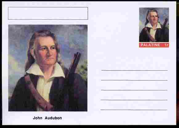 Palatine (Fantasy) Personalities - John Audubon (ornithologist) postal stationery card unused and fine