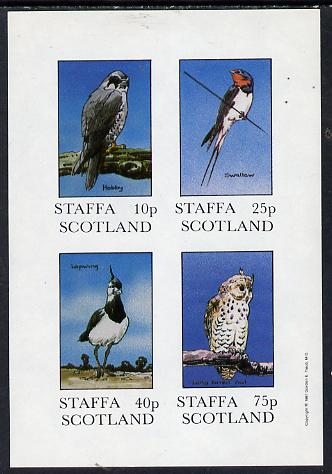 Staffa 1981 Birds #03 (Hobby, Swallow, Lapwing & Owl) imperf  set of 4 values (10p to 75p) unmounted mint