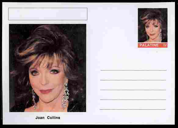 Palatine (Fantasy) Personalities - Joan Collins (actress) postal stationery card unused and fine