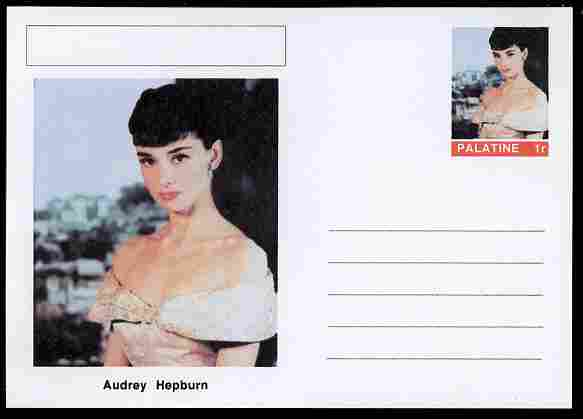 Palatine (Fantasy) Personalities - Audrey Hepburn (actress) postal stationery card unused and fine