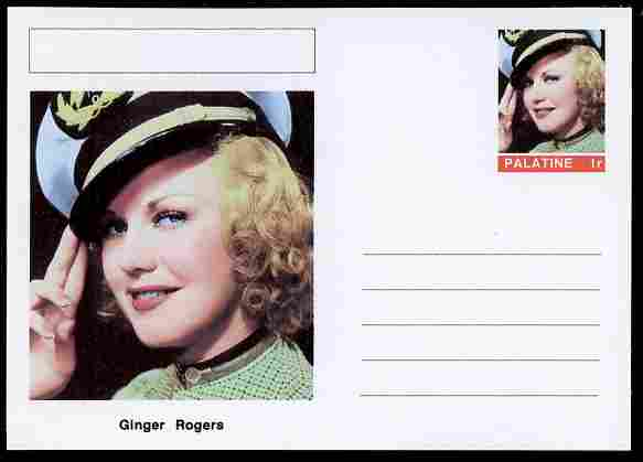 Palatine (Fantasy) Personalities - Ginger Rogers (actress) postal stationery card unused and fine