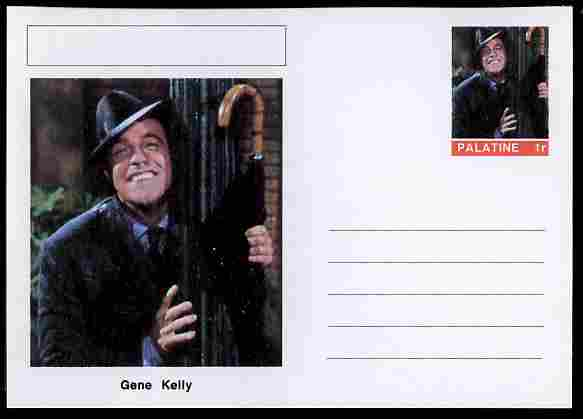 Palatine (Fantasy) Personalities - Gene Kelly (actor) postal stationery card unused and fine, stamps on personalities, stamps on films, stamps on movies, stamps on cinema, stamps on dance, stamps on dancing