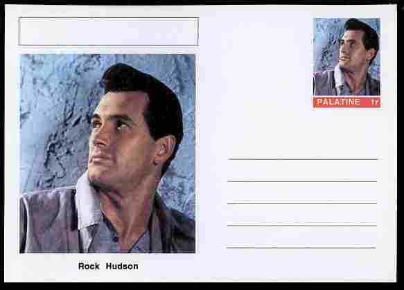 Palatine (Fantasy) Personalities - Rock Hudson (actor) postal stationery card unused and fine