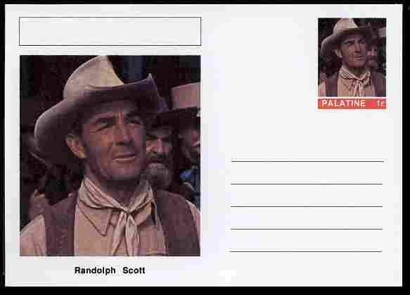 Palatine (Fantasy) Personalities - Randolph Scott (actor) postal stationery card unused and fine
