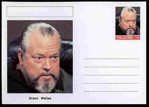 Palatine (Fantasy) Personalities - Orson Welles (actor) postal stationery card unused and fine