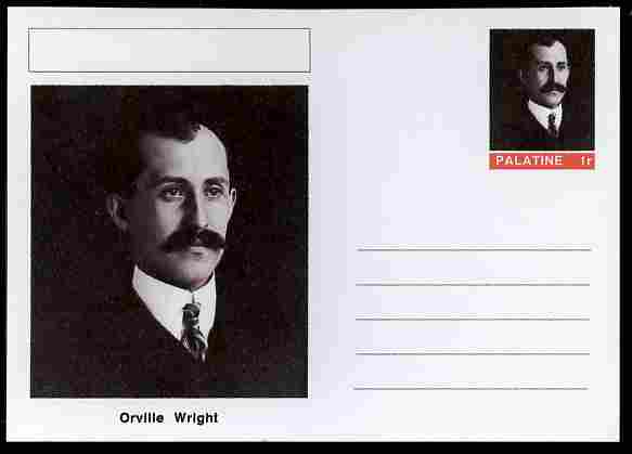 Palatine (Fantasy) Personalities - Orville Wright (aviation pioneer) postal stationery card unused and fine