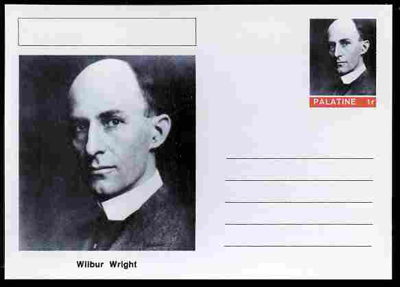 Palatine (Fantasy) Personalities - Wilbur Wright (aviation pioneer) postal stationery card unused and fine