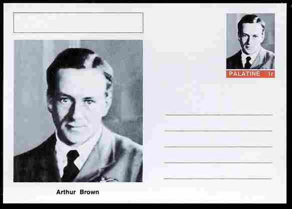 Palatine (Fantasy) Personalities - Arthur Brown (aviation pioneer) postal stationery card unused and fine