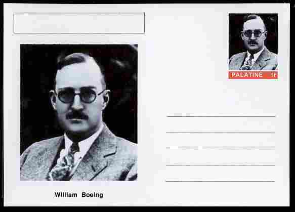 Palatine (Fantasy) Personalities - William Boeing (aviation pioneer) postal stationery card unused and fine