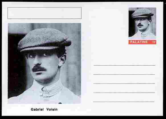Palatine (Fantasy) Personalities - Gabriel Voisin (aviation pioneer) postal stationery card unused and fine, stamps on personalities, stamps on aviation, stamps on