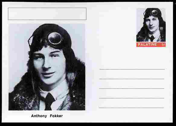 Palatine (Fantasy) Personalities - Anthony Fokker (aviation pioneer) postal stationery card unused and fine
