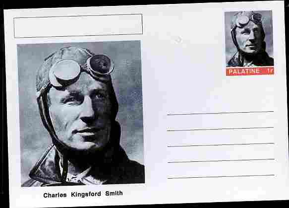 Palatine (Fantasy) Personalities - Charles Kingsford Smith (aviation pioneer) postal stationery card unused and fine