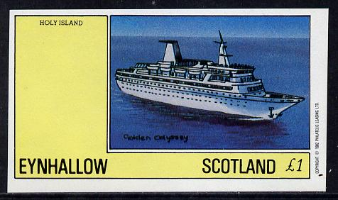 Eynhallow 1982 Ships (Golden Odyssey) imperf souvenir sheet (�1 value) unmounted mint