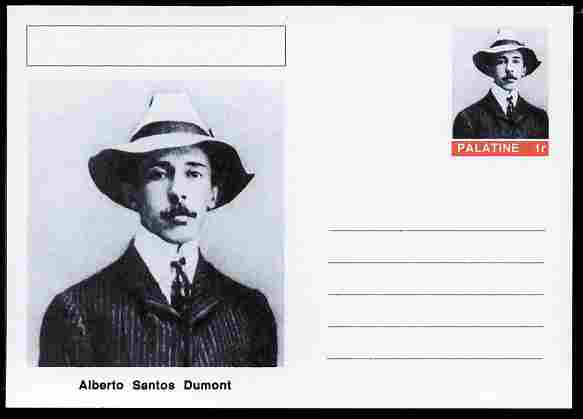Palatine (Fantasy) Personalities - Alberto Santos Dumont (aviation pioneer) postal stationery card unused and fine