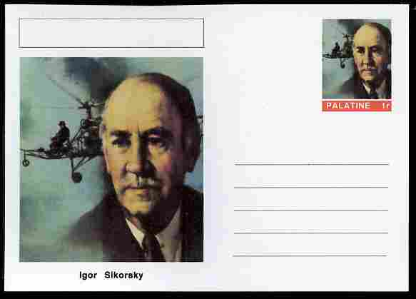 Palatine (Fantasy) Personalities - Igor Sikorsky (aviation pioneer) postal stationery card unused and fine