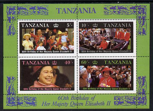 Tanzania 1987 Queen's 60th Birthday perf m/sheet unmounted mint SG MS 521