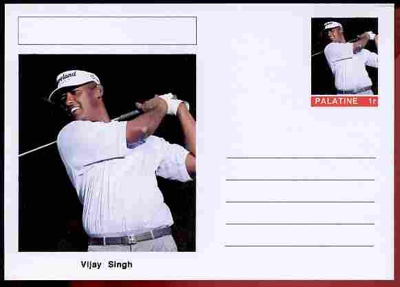 Palatine (Fantasy) Personalities - Vijay Singh (golf) postal stationery card unused and fine