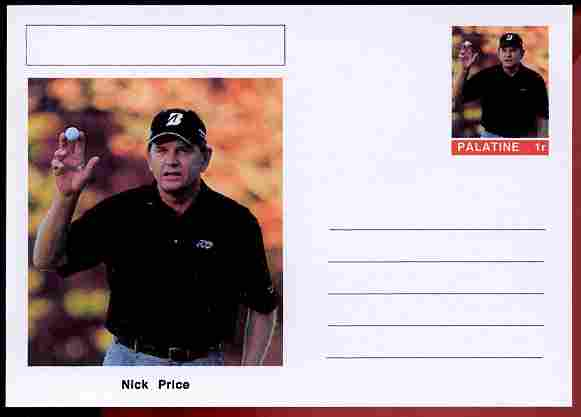 Palatine (Fantasy) Personalities - Nick Price (golf) postal stationery card unused and fine