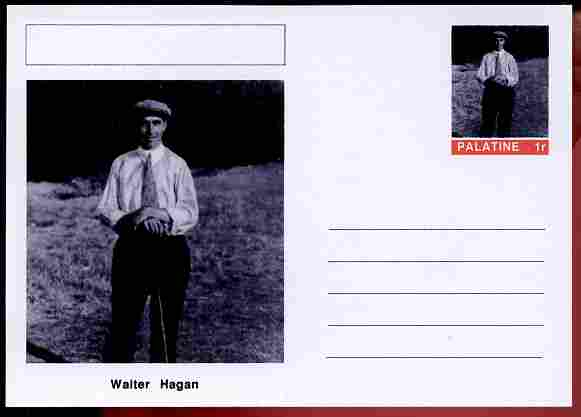 Palatine (Fantasy) Personalities - Walter Hagan (golf) postal stationery card unused and fine