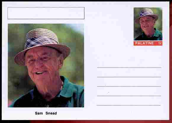 Palatine (Fantasy) Personalities - Sam Snead (golf) postal stationery card unused and fine