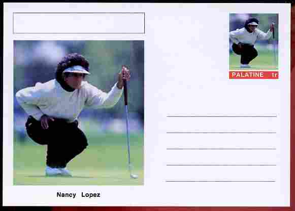 Palatine (Fantasy) Personalities - Nancy Lopez (golf) postal stationery card unused and fine