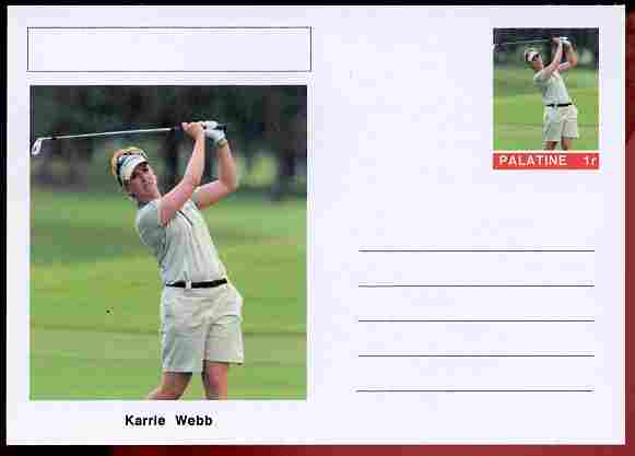Palatine (Fantasy) Personalities - Karrie Webb (golf) postal stationery card unused and fine