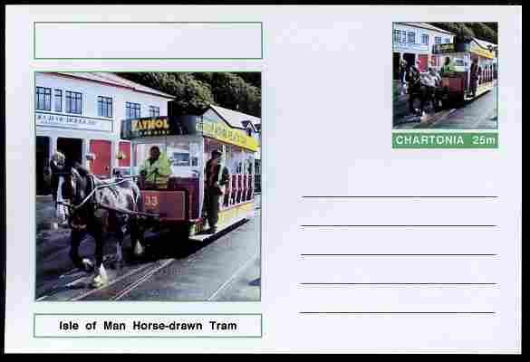 Chartonia (Fantasy) Buses & Trams - Isle of Man Horse-drawn Tram postal stationery card unused and fine