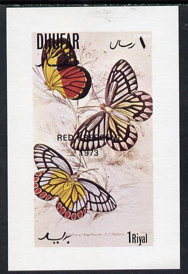 Dhufar 1972 Butterflies imperf souvenir sheet optd Red Crescent 1973 (1R value) unmounted mint , stamps on butterflies   medical