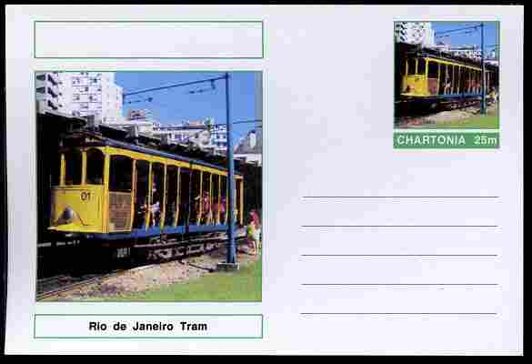 Chartonia (Fantasy) Buses & Trams - Rio de Janeiro Tram postal stationery card unused and fine